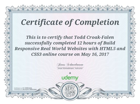 HTML5 and CSS3 certificate