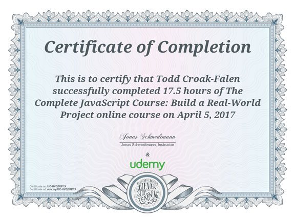 The Complete JavaScript Course certificate
