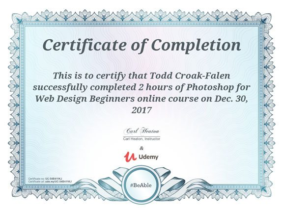 Photoshop for Web Design certificate